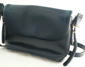Leather Bag - Over the shoulder or Crossbody Navy Blue Bag with Silver Hardware