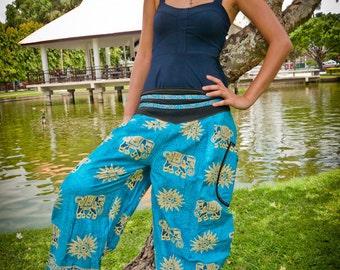 Thai Harem  Pants, Cotton, Turquoise w Gold Elephant Design and Tribal Waistband