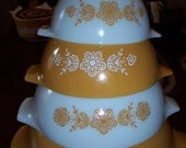 Pyrex Butterfly Gold Cinderella Bowl Set...Nice Vintage Condition...1960's...1970's...Very Popular Pattern...