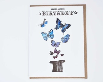 Letterpress Birthday Card Magic Butterflies