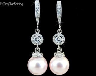 PINK Pearl Earrings Bridesmaid Jewelry Pearls Earrings Rosaline Cubic Zirconia Wedding Jewelry Bridesmaid Gift Bridal Earrings blush earring