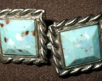 Vintage Silvertone Stone Brooch with Speckled Robins Egg Blue Stones