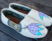 Purple Lavender and Baby Blue Feather Dream Catchers on Natural Canvas Toms Classics