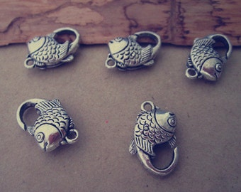 20pcs antique silver fish shape Lobster Clasps 11mmx23mm
