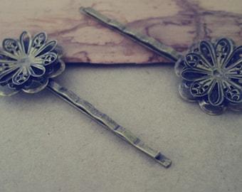 10pcs antique bronze flower cap hair clips/hair pins 23mmx59mm