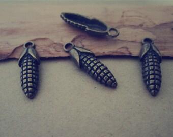 40pcs of Antique bronze corn Pendant charm 7mmx24mm