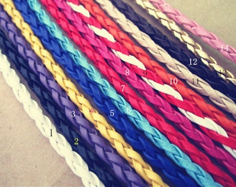 40pcs 3.0mm  7inches--9inches Mixed color faux braided leather with Lobster clasp bracelet