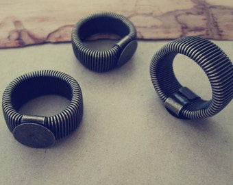 20pcs retractable antique bronze  Ring Blanks ( ring base12mm )