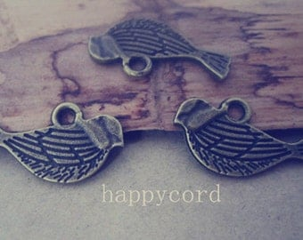 32pcs of Antique bronze Double sided  birds Charms Pendant  11mmx21mm