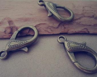 10pcs of antique bronze lobster Clasps 15mmx30mm