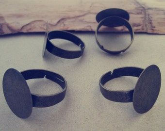 20pcs Adjustable antique bronze Round Ring Blanks 20mm