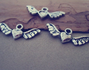 25pcs Antique silver love wings pendant charm 10mmx28mm