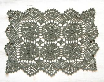 Olive green crochet Doily Vintage rectangular doily