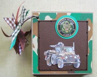 Premade US Army Chipboard Album Just Add Photos