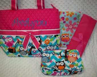 Chevron Owl 4 Piece Personalized Diaper Bag Set - Baby Girl Pink Owls Personalized Diaper Bag Set Embroidered with Name with Owls Burp Cloth