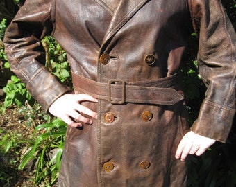 1940s scuffed and strong double breasted jacket - Sz M