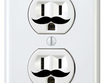 24 wall outlet Mustache Decals  wall art decor removable