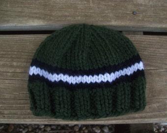 Winter,Hat,Boys,Babies,Hand Knit,Baby,Newborn,Three Months,Gift,Dark Green,White Stripe