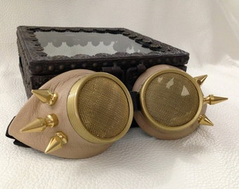 Burner eyewear- Steampunk Tan Leather Stinger spikes Waspeye lens template