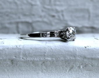 Vintage Platinum Diamond Engagement Ring - 0.51ct.
