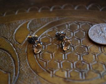 Vintage EARRINGS - 1960s Sterling Silver Citrine Earrings