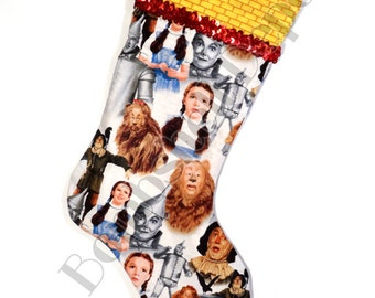 The Wizard Of OZ Christmas Stocking Cotton/poly Lined w/ Yellow Brick Road Cuff
