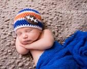 Florida Gators Striped  Hat, Orange and Blue Baby Hat, Football Boy Photo Prop