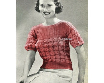 1930s Daisy Top Made using Daisy Knitter - Knit pattern PDF 3549