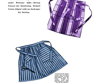 1950s Hostess Apron for Sewing and Gardening Around Waist - 2 Sewing patterns PDF 2492