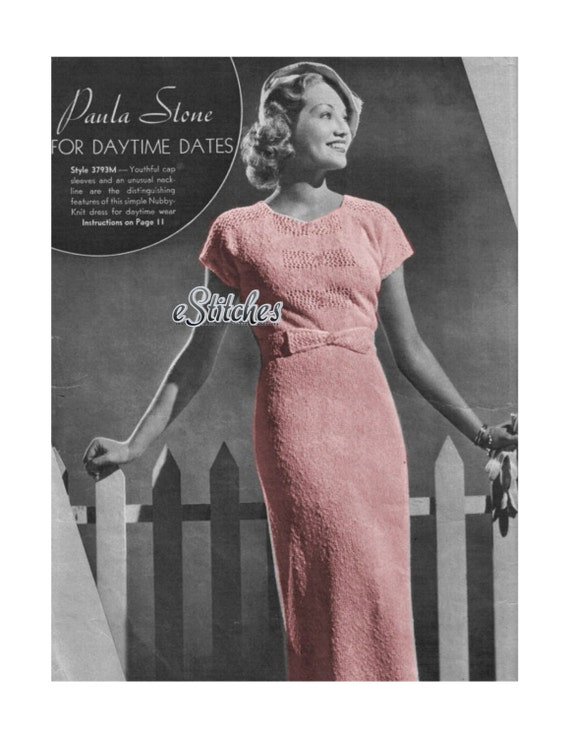 1930s Dress with Cap Sleeves and Bow, Modeled by 1930s movie starlet - Knit pattern PDF 0793