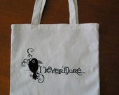 Never More Quote embroidered on Tote Bag