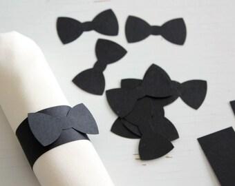 25 Black Bow Tie Paper Napkin Ring 1X5 inch Wedding, Black Tie Event, Baby Boy's First Birthday, Anniversary, Bachelor