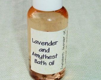 Shimmer Lavender and Amythest Bath Oil with Amythest stone - 3 oz bottle