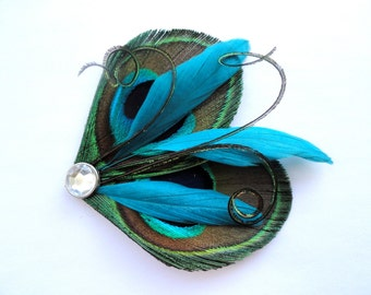 DAISY in Natural Peacock and Turquoise Feather Hair Clip, Feather Fascinator