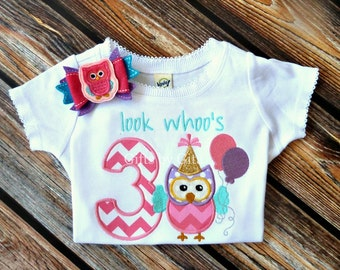 Owl number birthday girl shirt, embroidered owl birthday shirt, birthday shirt with bow, owl themed birthday,