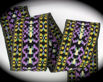 "Vintage Woven Jacquard Ribbon  2"" x 1 yds Tribal/Ikat in Black, Orchid, Yellow Gold and White - Hippie Trim- LSU COLORS"