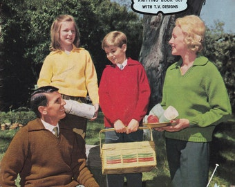 Vintage 1960s - Paton's Knitting Pattern No 607  For Family Featuring Jet Tripleknit