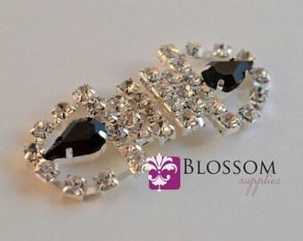 CLEARANCE - Rhinestone Bridal Belt Buckle - Wedding Sash buckle - Clasp Closure - DIY Bridal - Vintage Inspired (BB002)
