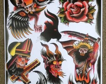 Hell Awaits Tattoo Flash Page