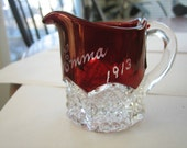 Small Antique Ruby Flash Pitcher--Dated 1913 and Emma