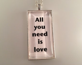 The Beatles, All You Need is Love Necklace, Music Necklace, Beatles Gift, Beatles Jewelry