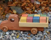 Truck Redwood with Blocks, handmade,heirloom
