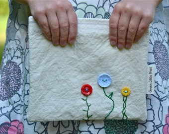 Reusable Snack Bag, Eco Snack Bags, Button Flowers Snack Bag, Your choice Nylon or Cotton Lined MADE TO ORDER