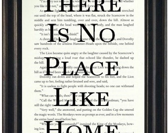 There Is No Place Like Home Book Page Print Wizard of Oz Art Print Fandom Book Lovers Gift