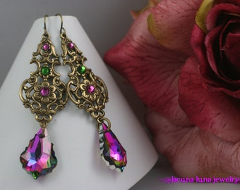 Electra, Ultra Dramatic Victorian / Baroque Style Earrings in Oxidized Brass