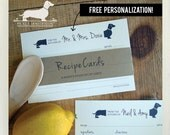 Mr. and Mrs. Doxie. Free Personalization. A Baker's Dozen (Qty 13) Set of 4x6 Recipe Cards -- (Dachshund, Wedding Gift, Bridal Shower Favor)