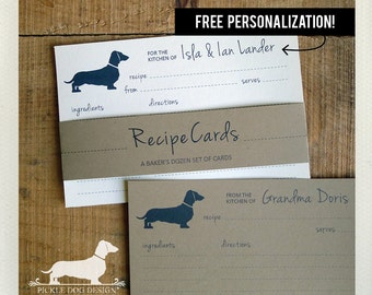 Doxie. Free Personalization. A Baker's Dozen (Qty 13) Set of Recipe Cards -- (3x5, 4x6, Dachshund, Dog, Wedding Gift, Bridal Shower Favor)