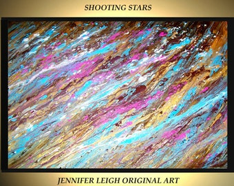 "Original Large Abstract Painting Modern Contemporary Canvas Art Gold Blue Brown Shooting Stars 36""x24"" Palette Knife Texture Oil J.LEIGH"