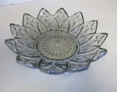 Vintage Carnival Art Glass Snack flower dish blue colored iridescent art glass  no markings