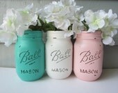 Painted and Distressed Ball Mason Jars- Sea Foam, Light/Pale/Pastel Pink and White Flower Vases, Rustic Wedding, Centerpieces